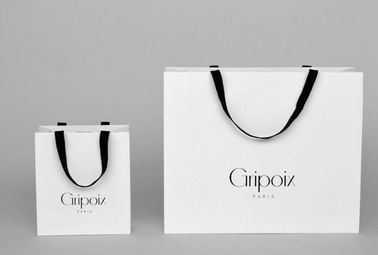 White Custom Printed Paper Gift Bags With Handles And Logo OEM Service